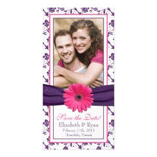 Roze Daisy Purple Floral Ribbon Wedding bewaart Da Kaart