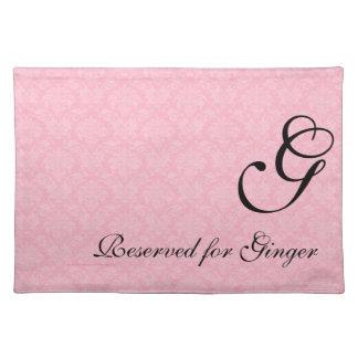 Roze Damast met monogram voor Honden Placemat