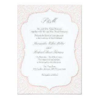 Roze damastuitnodiging voor huwelijk en het 12,7x17,8 uitnodiging kaart