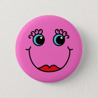 Roze Dame Smiley Face Ronde Button 5,7 Cm