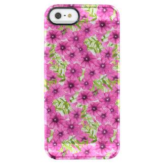 Roze de bloempatroon van de waterverfpetunia doorzichtig iPhone SE/5/5s hoesje