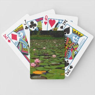 Roze de bloemvijver van de lotusbloemwaterlelie poker kaarten