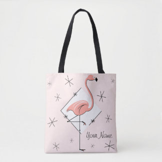 Roze de diamantnaam van flamingo's helemaal over draagtas