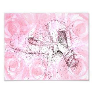 Roze de kunstdruk van teenschoenen foto afdruk