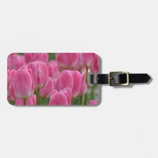 Roze de lentetulpen kofferlabel