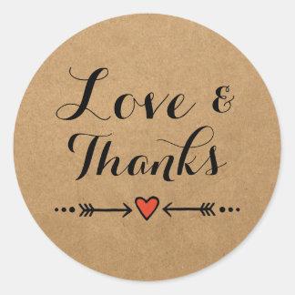 Roze de Liefde & het Bedankt van het Huwelijk van Ronde Sticker
