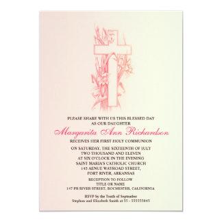 Roze de meisjesuitnodigingen van het Doopsel van 12,7x17,8 Uitnodiging Kaart