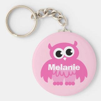 Roze de uilcartoon van Girly keychain met naam Basic Ronde Button Sleutelhanger