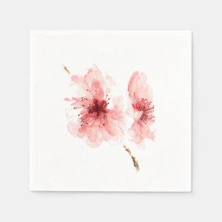Roze decorativdocument van de kersenbloesem witte wegwerp servet