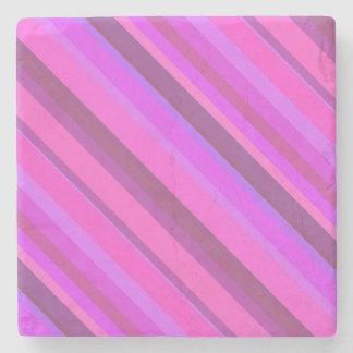 Roze diagonale strepen stenen onderzetter