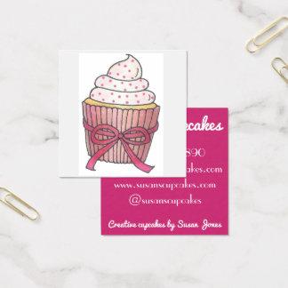 Roze die Cupcake Cupcakes door de Bakkerij van de Vierkante Visitekaartjes