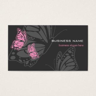 Roze & Donkere Elegante Modern van de vlinder Visitekaartjes