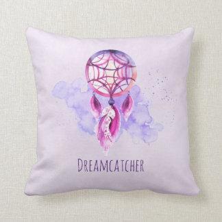 Roze Dreamcatcher op Paarse Waterverf ploetert Sierkussen