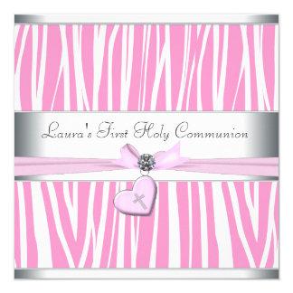 Roze Dwars Eerste Heilige Communie 13,3x13,3 Vierkante Uitnodiging Kaart