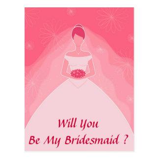 Roze Eenvoudig Bruidsmeisje mooie Girly Briefkaart