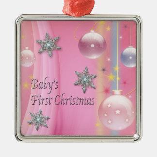 Roze Eerste Kerstmis Roze Eerste Christma van het Zilverkleurig Vierkant Ornament