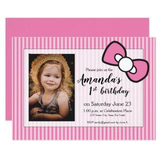 Roze Eerste verjaardag, strepen, gepersonaliseerde Kaart
