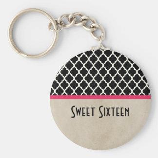 Roze Elegante Quatrefoil Zoete 16 Keychain Sleutelhanger