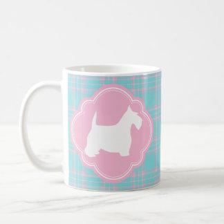 Roze en Antiek Blauwe Plaid Scottie Koffiemok