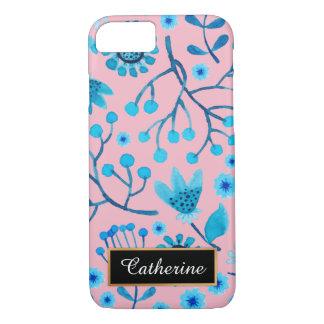 Roze en Blauw Bloemen Gepersonaliseerd Patroon iPhone 8/7 Hoesje