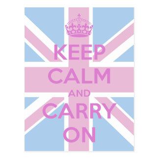 Roze en Blauw Union Jack Briefkaart