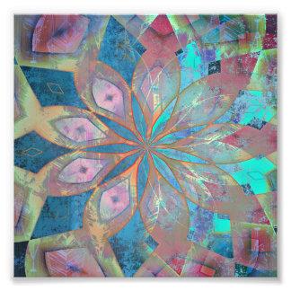 Roze en Blauwe Abstracte Tegel Mandala Foto Afdruk