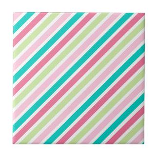 Roze en Blauwe Heldere Strepen Tegeltje Vierkant Small