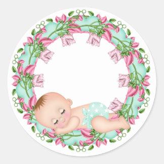 Roze en de Sticker van het Baby shower Gree met