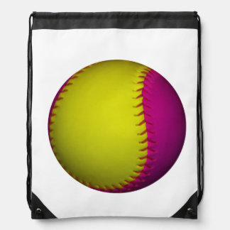 Roze en Geel Softball Trekkoord Rugzak