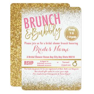 Roze en Gouden Brunch & Bruisend Vrijgezellenfeest Kaart