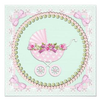 Roze en Groen Baby shower 13,3x13,3 Vierkante Uitnodiging Kaart