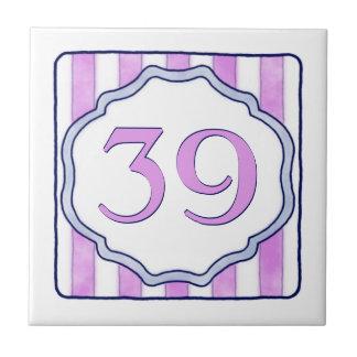 Roze en het Grote Huisnummer van de Lavendel Keramisch Tegeltje