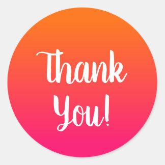 Roze en Oranje Ombre dankt u Ronde Sticker