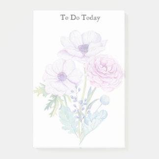 Roze en Paarse Bloemen om de Nota van de Post-it Post-it® Notes