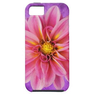roze en paarse dahlia op hand geschilderde tough iPhone 5 hoesje