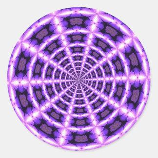 Roze en paarse draaikolk ronde sticker