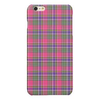 Roze en Paarse Vintage Plaid Glossy iPhone 6 Plus Hoesje