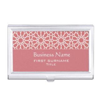 Roze en wit Islamitisch Geometrisch ontwerp Visitekaartjes Houder