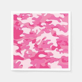 Roze en Wit Ontwerp Camo Papieren Servetten
