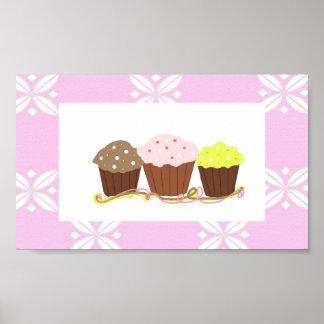 Roze en Wit Ontwerp Cupcake Poster