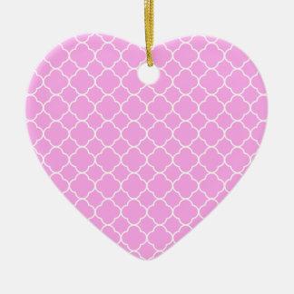 Roze en Wit Patroon Quatrefoil Keramisch Hart Ornament