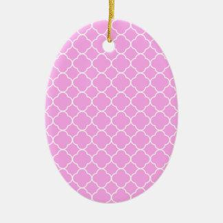 Roze en Wit Patroon Quatrefoil Keramisch Ovaal Ornament