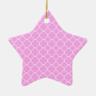 Roze en Wit Patroon Quatrefoil Keramisch Ster Ornament