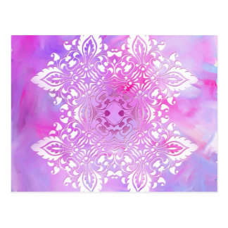 Roze en Wit Versierd Ontwerp Briefkaart
