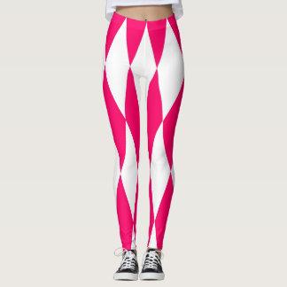 Roze en witte diamantenbeenkappen leggings