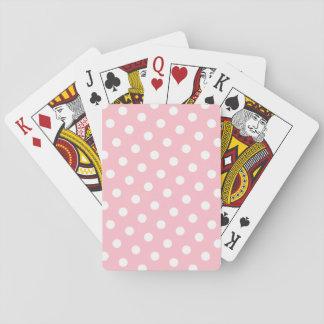 Roze en Witte Stippen Speelkaarten
