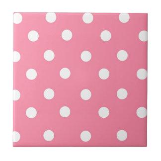 Roze en Witte Stippen Tegeltje