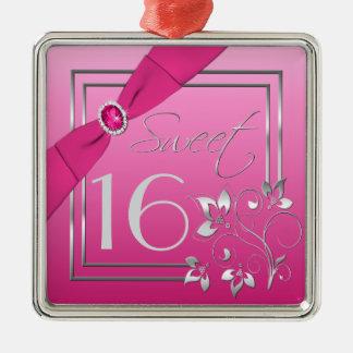Roze en Zilveren Bloemen Zoet Ornament Zestien