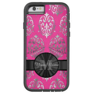 Roze en zilveren damast gepersonaliseerd monogram tough xtreme iPhone 6 hoesje