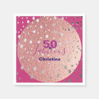 Roze en zilveren fonkelings vijftigste verjaardag papieren servet